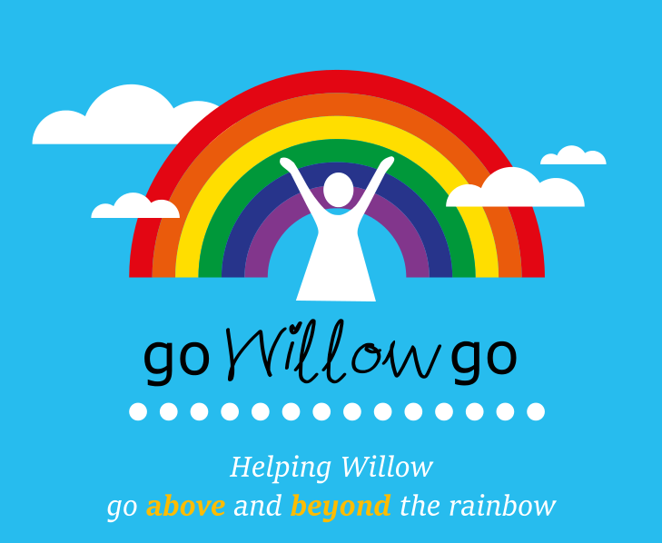 Go Willow Go rainbow and clouds with little figure reaching up